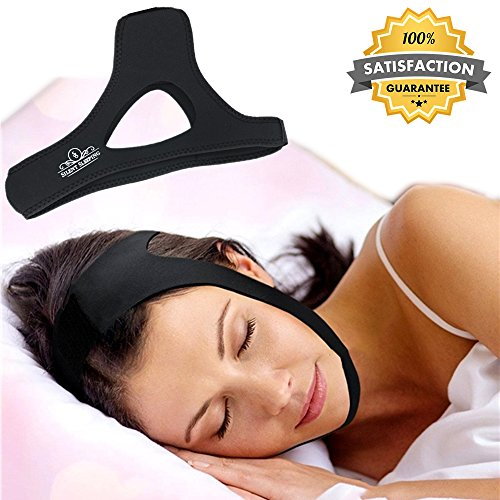 Silent Sleeping Anti Snoring CPAP Chin Strap - The Best Stop snoring solution - Stop Snore remedies Aids - Snoring Relief Devices - Anti Snore Jaw supporter - Adjustable for Men & Women