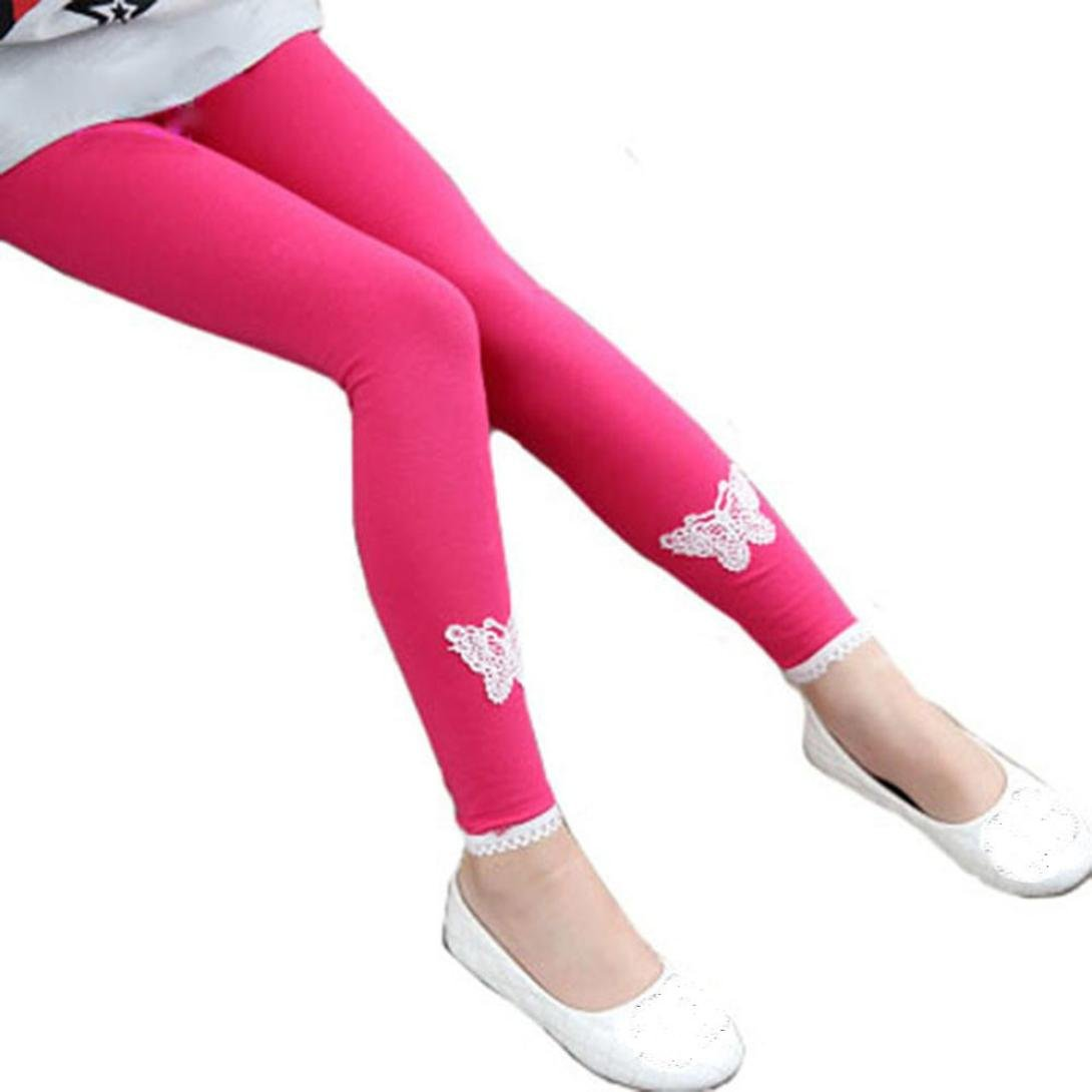 Amiley Girls Leggings, Christmas Toddler Girl butterfly Skinny Pencil Pants Warm Kids Lace Winter Stretchy Legging (Hot Pink, 6T)