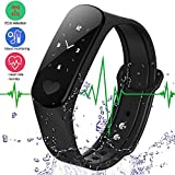 Smart Bracelet Fitness Tracker ECG Heart Rate/Blood Pressure Monitor,Waterproof Activity Tracker Smart Watch Sleep Monitor Pedometer Smart Wristband for Android Phone and IOS IPhone (Black)