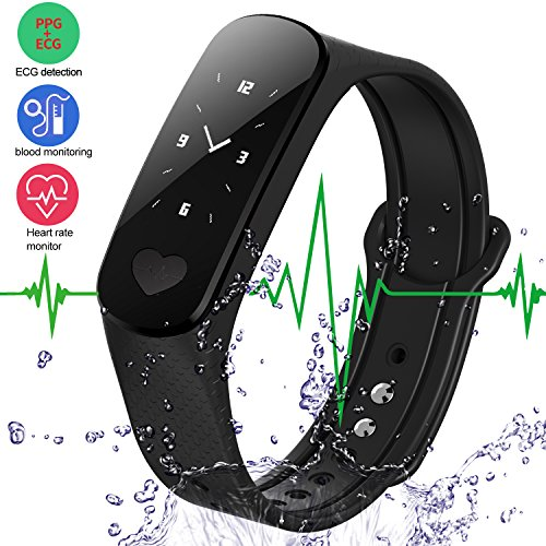 LogHog Smart Bracelet Fitness Tracker ECG Heart Rate/Blood Pressure Monitor,Waterproof Activity Tracker Smart Watch Sleep Monitor Pedometer Smart Wristband for Android Phone and IOS IPhone (Black)