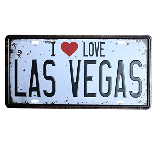 - PLUMTALL I Love Las Vegas Car Auto Tag Metal License Plate Vintage Home Decor Bar Pub Cafe Tin Metal Sign Art Wall Painting Plaque (6 x 12 inches)