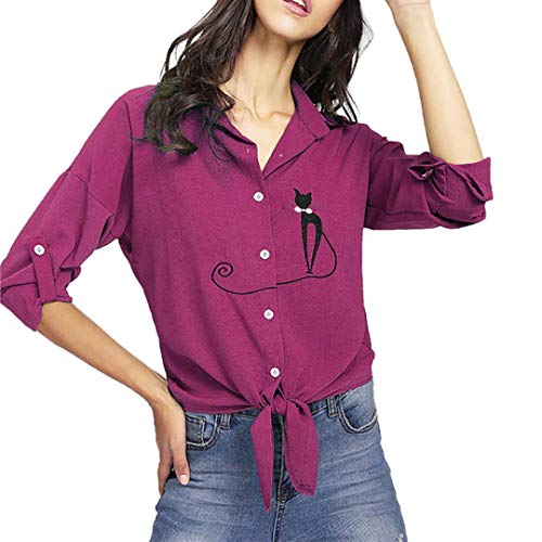 iDWZA Women's Fashion Embroidered Cat Button Down Knotted Hem Shirt Blouse Tops(2XL,Hot Pink)