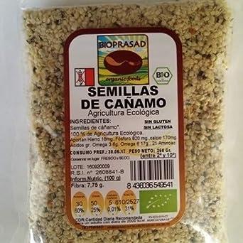 Bioprasad - Semillas De Cañamo Bio 150 Gramos - Sin Gluten Sin Lactosa - Procedente De Agricultura Ecológica