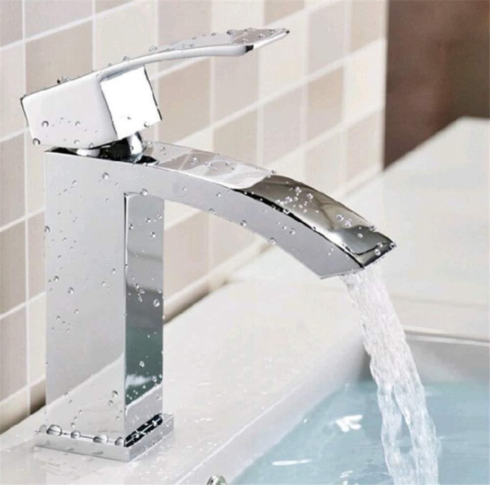 ROTOOY Waschtischarmaturen Quadratische Einlochmontage Einzigen Wasserhahn Heiß Und Kalt Kupfer Wasserhahn Becken Waschbecken Wasserhahn