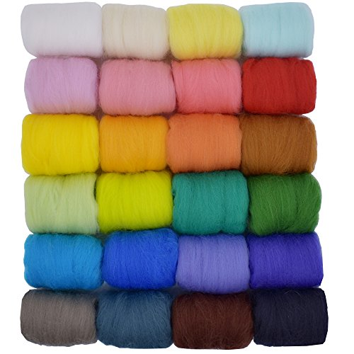 Wool Roving 24 Colors 5g/color Loveself felting wool kit for needle felting supplies Hand Spinning DIY Craft Materials by Loveself