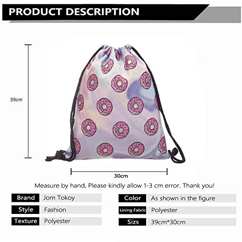 Amazon.com: Fashion Women Holo Donuts Drawstring Backpack 3D Printing Travel Softback Women Mochila Drawstring Bags skd27124: Beauty