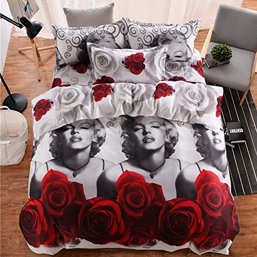 - wuy Fashion 3D Marilyn Monroe Bedding Sets Queen Bed Sheet Pillow Cases Duvet Cover (Size: Queen 3pcs)