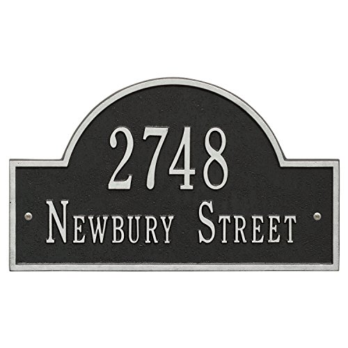 Whitehall Products Arch Black/Silver Marker Standard Wall Two Line Address Plaque