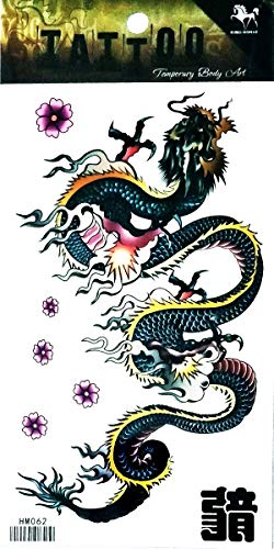NipitShop 1 Sheet Chinese Dragon Kung Fu Martial Arts Waterproof Temporary Fake Tattoo Stickers