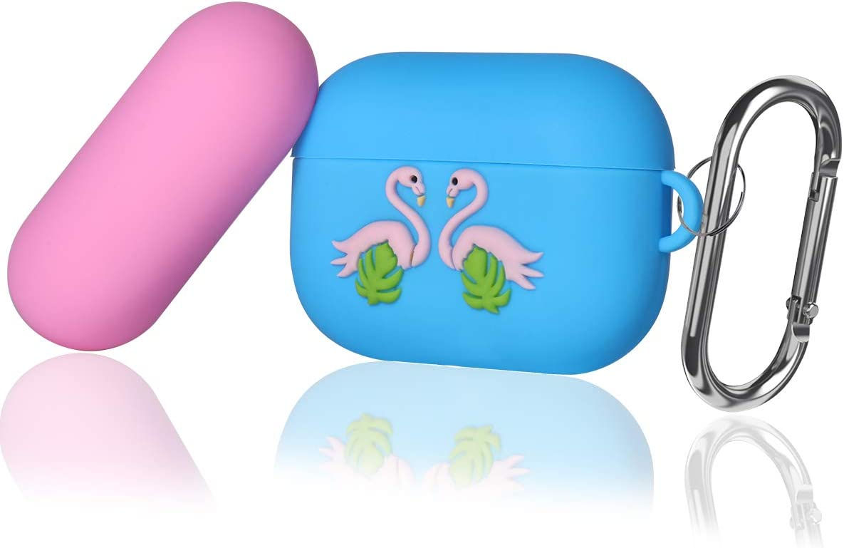 Youtec Airpods pro Case Cover with Keychain, Cute Cartoon Silicone Airpods pro 3 Protective Cover Skin with Two Toned Cap for Girl Boy Compatible Airpod pro Charging Case 3rd Gen 2019, Flamingo