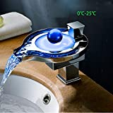 Durable Creative LED Round Large Grindstone Faucet Fashion Creative European Hot And Cold Basin Faucet Hydroelectric Waterfall Effluent Faucet practical