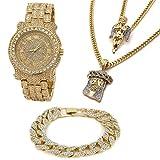 Men's 14k Gold Plated Si Stardust Angel & Jesus Face Pendant Iced Out Bundle Fully Cz Watch & Bracelet Set