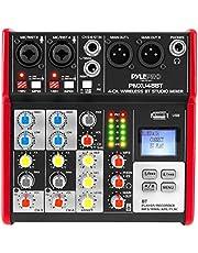 Pyle PMXU43BT - Sistema de consola de audio con mezclador de sonido profesional, interfaz de 4 canales, USB, Bluetooth, MP3, entrada de computadora, 48 V, potencia fantasma, estéreo, DJ, estudio, transmisión FX, procesador DSP de 16 bits