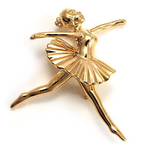 A ballet dancer brooch gold plated white enamel made in Russia