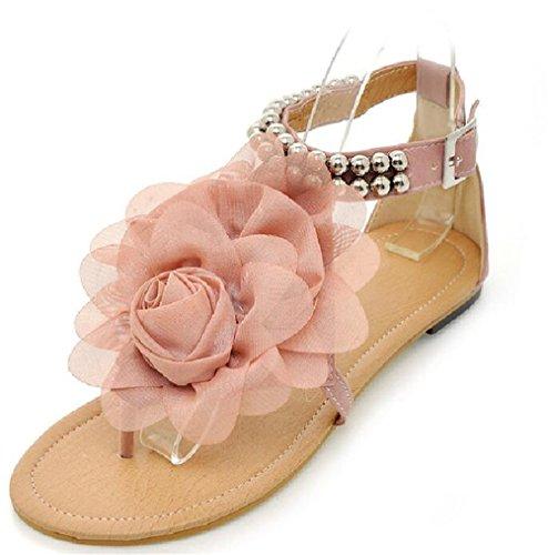 ACE SHOCK Womens Girls Causal Open Toe T Strap Thong Flower Flat Summer Dress Shoes Sandals Plus Size Pink XCPqMJq