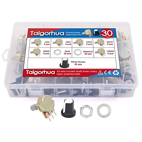 30sets 1k-100k Ohm Single Linear Taper 3 Pins Rotary Potentiometers Resistor with Pots Knobs Kit