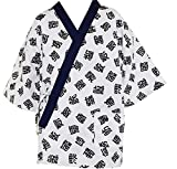 L Size, Sushi Chef Jacket Japanese Chef Uniform with Black Headband (Black Character)