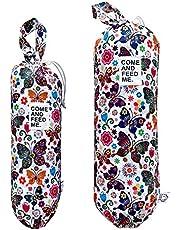 FLOCK THREE 2pcs Waterproof Plastic Grocery Trash Bag Holder Shopping Carrier Holder Organizer Kitchen Storage Bag Dispenser Multiple Designs Sizes (Butterflies)