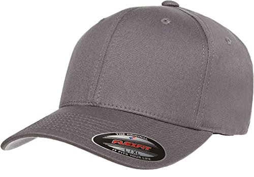 Structured Cotton Twill Baseball Cap (Flexfit/Yupoong Men's Cotton Twill Fitted Cap, Grey, Large/Extra Large)