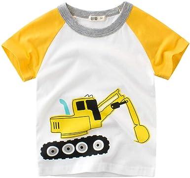 27 KIDS Dibujos Animados para Niños Excavadora Camiseta De Algodón ...