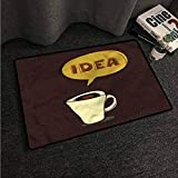 Kitchen Room Floor Mat Rug Colorful Coffee,Cup of Idea Sketch Art,W24 xL35 Outdoor Camping Rugs