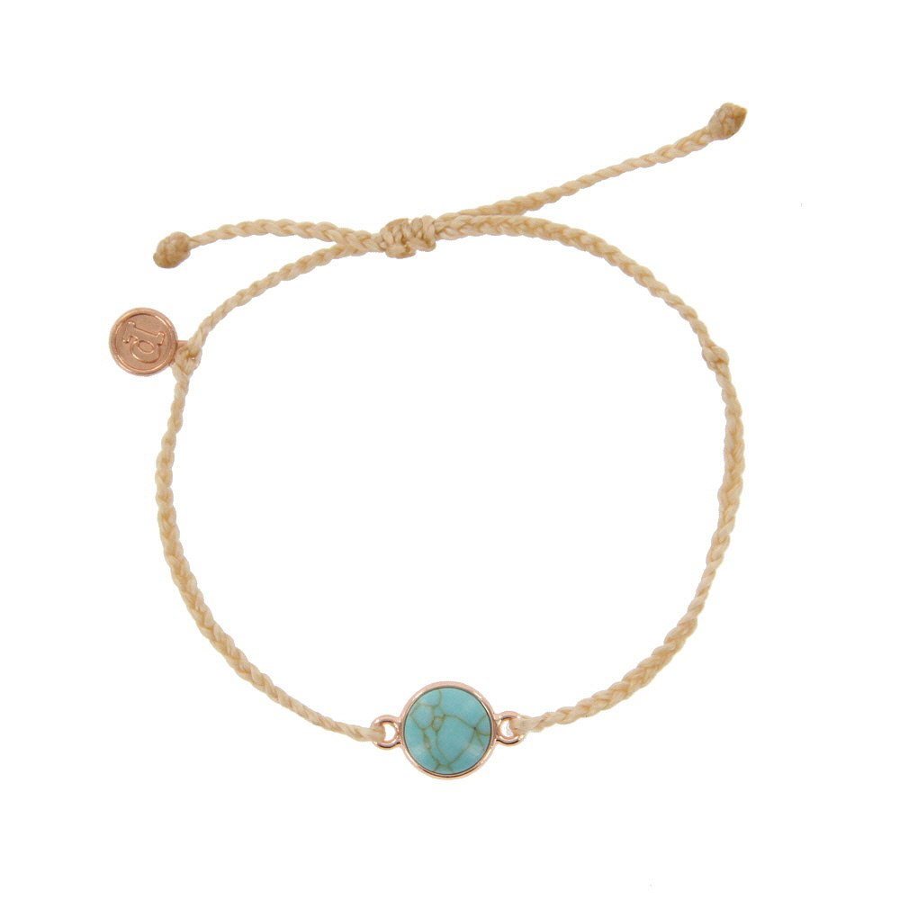 Pura Vida Rose Gold Riviera Stone Bezel Braided Cream Bracelet - Plated Charm, Adjustable Band - 100% Waterproof