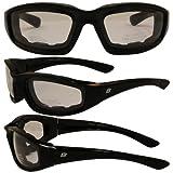 Birdz Eyewear Oriole Padded Motorcycle Glasses (Black Frame/Clear Lens)