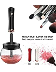 Makeup Brush Cleaner - MUJUZE 360 Rotation Electric Makeup Brushes Cleaner and Dryer, Fit for All Size Makeup Brushes - Remove Cosmetic Residue, Oil and Impurities from Brushes (Black)