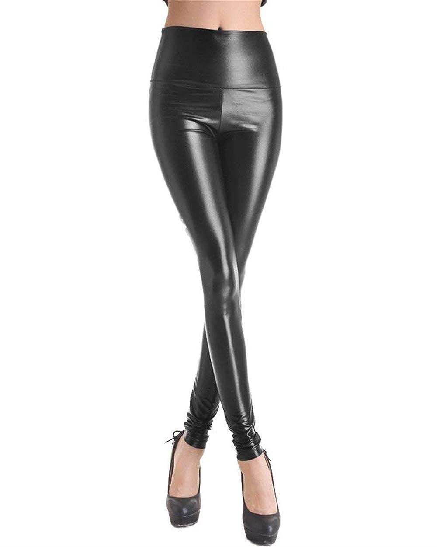 Leggings in Ecopelle da Pelle in Abbigliamento Donna Pu in Pelle A Vita Alta con Elastico in Vita Attillata Leggins Pantaloni A Matita None