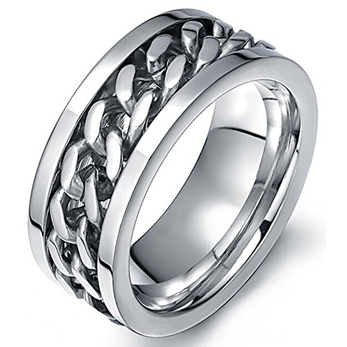 SumBonum Jewelry Mens Womens Stainless Steel Ring, Novelty Rotabable Chain Charm Band Ring, 8mm, Silver (Celtic Protection Ring compare prices)