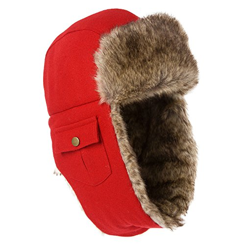 SIGGI Unisex Winter Wool Russian Bomber Hat Women Red Earflap Trapper Hat Faux Fur Ushanka - Russian Hat Ushanka Women