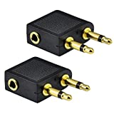UCEC 2x Golden Plated Airline Airplane Flight Headphone Adapters