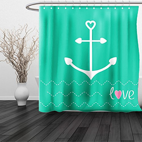 HAIXIA Shower Curtain Anchor Anchor with Heart Shapes and Wavy Lines on the Bottom Sailor Love Loyalty Romance Green Pink White