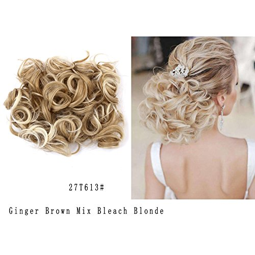 Hair Extension Ginger - LHFLIVE Short Messy Curly Ginger Brown Mix Bleach Blonde Bun Hair Extension For Women Easy Stretch Hair Combs Clip in Ponytail Scrunchie Chignon Tray Ponytail Hair pieces