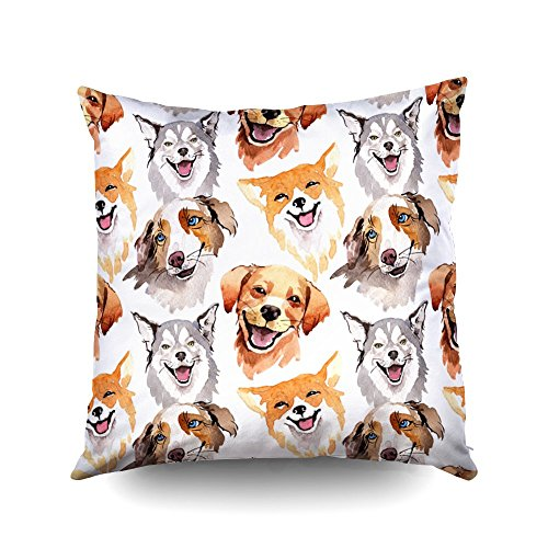 ROOLAYS Decorative Throw Square Pillow Case Cover 18X18Inch,Cotton Cushion Covers Exotic dog wild animal pattern in a watercolor style Both Sides Printing Invisible Zipper Home Sofa Decor Pillowcase