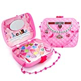 Kids Princess Makeup Toys Kit for Girl, Washable Cosmetic Set Lipstick Nail Polish with a Carrying...