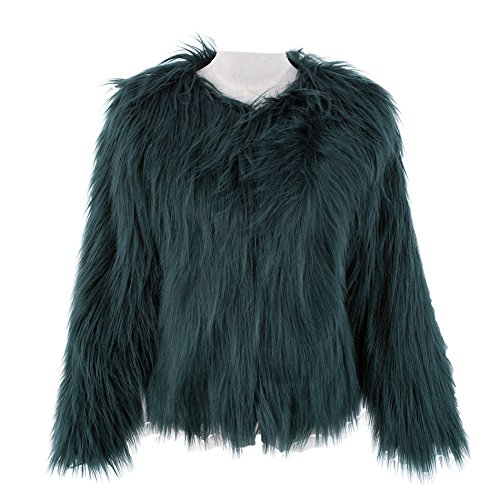 Caracilia Women Winter Warm Fluffy Faux Fur Coat Jacket Green Tag 4XL -