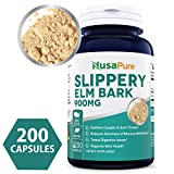 Best Slippery Elm Bark 900mg 200 Capsules (NON-GMO & Gluten Free) – Soothe Sore Throat & Coughs, Treat Digestive Problems & Support Skin Health – 450mg per Caps – 100% MONEY BACK GUARANTEE