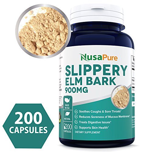 Slippery Elm Bulk (Best Slippery Elm Bark 900mg 200 Capsules (Non-GMO & Gluten Free) - Soothe Sore Throat & Coughs, Treat Digestive Problems & Support Skin Health - 450mg per Caps - 100% Money Back Guarantee)