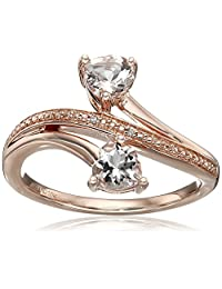10k Pink Gold Morganite and Diamond Heart Ring, Size 7