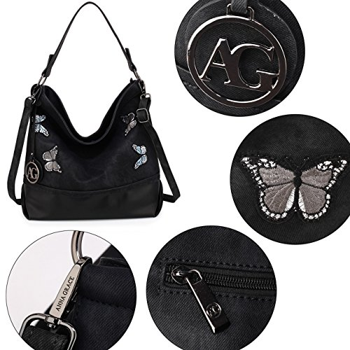 Imitación Cuero Bolsas De Medianas De Negro De Hombro Mujeres Los Bolsos Cremallera Leahward De Suave La De Bolso Las Moda Mariposa AzwOPxPq1