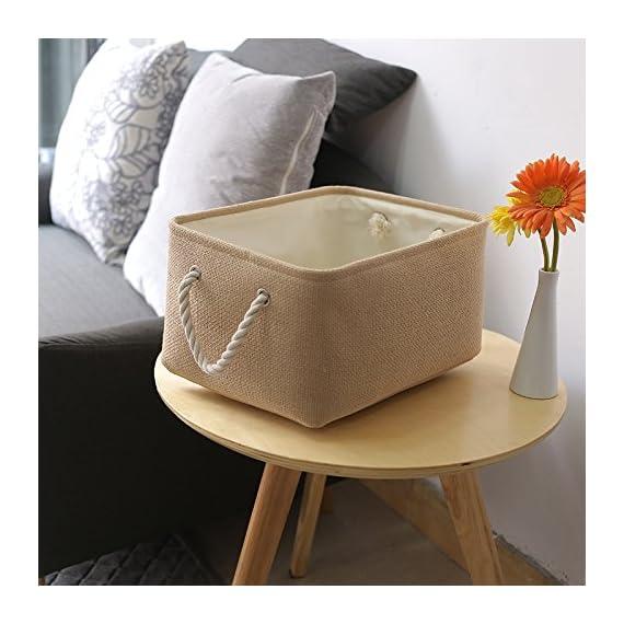TheWarmHome Decorative Basket Rectangular Fabric Storage Bin Organizer Basket with Handles for Clothes Storage -  - living-room-decor, living-room, baskets-storage - 51kJQB48DJL. SS570  -
