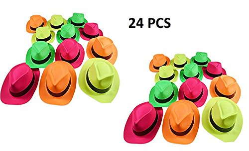 Ifavor123 Bright Neon Color Plastic Gangster Hats – Themed Party Fedora Hat Accessory (Plastic Fedora Hat)