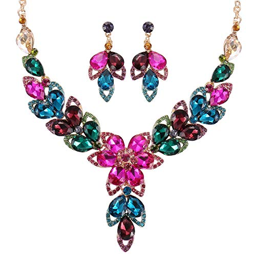 Stylebar Wedding Necklace Sets Earrings Teardrop Flower Multicolor Rhinestone Crystal Bridal Statement Jewelry Set for Bridal Brides Bridesmaids Women Gold Tone ()