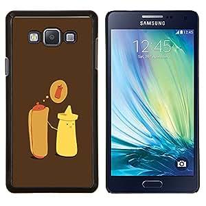 Hot Dog Mostaza Cartoon minimalista- Metal de aluminio y de plástico duro Caja del teléfono - Negro - Samsung Galaxy A7 / SM-A700