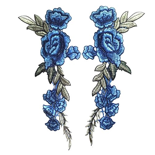 Staron 2PC Roses Floral Collar Sew Patch Applique Badge Sticker DIY Embroidered (Blue)