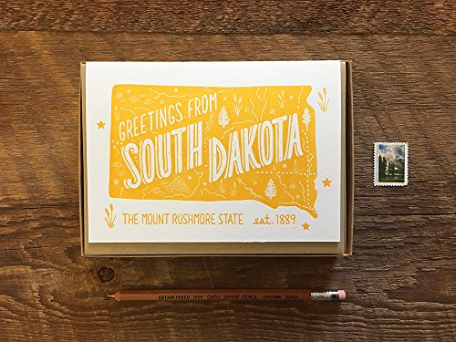 South Dakota Greeting Card, Greetings from South Dakota, Boxed Set of 8, A6 Folded Note Cards, Blank Inside