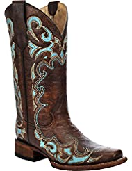 Circle G Womens Honey Embroidered Cowgirl Boot Square Toe - L5239