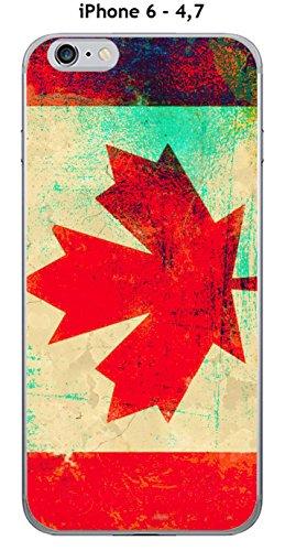 Cover Apple iPhone 6–4.7Design Bandiera Canada Vintage effetto metallizzato