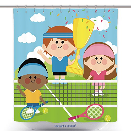 [Durable Shower Curtains Vector Illustration Of Children Tennis Players Holding The Championship Trophy 326401058 Polyester Bathroom Shower Curtain Set With Hooks] (Retro Tennis Player Costume)